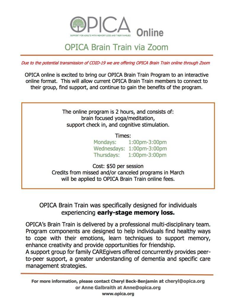 OPICA Brain Train – virtual