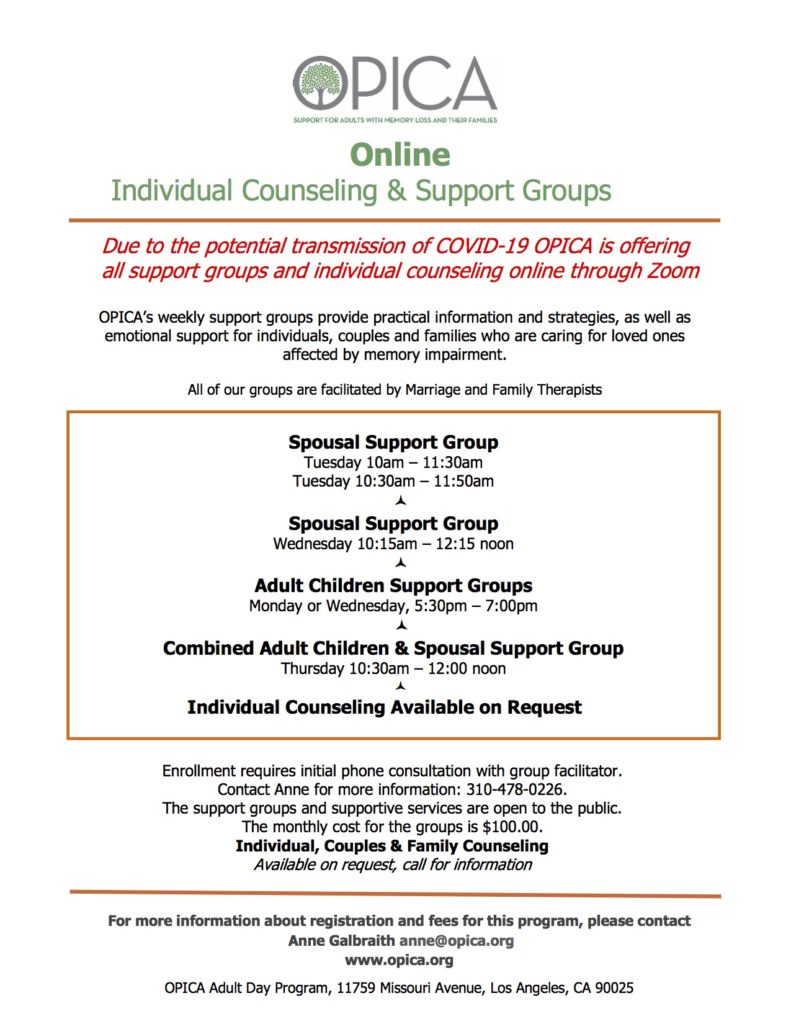 OPICA Counseling & Support – virtual