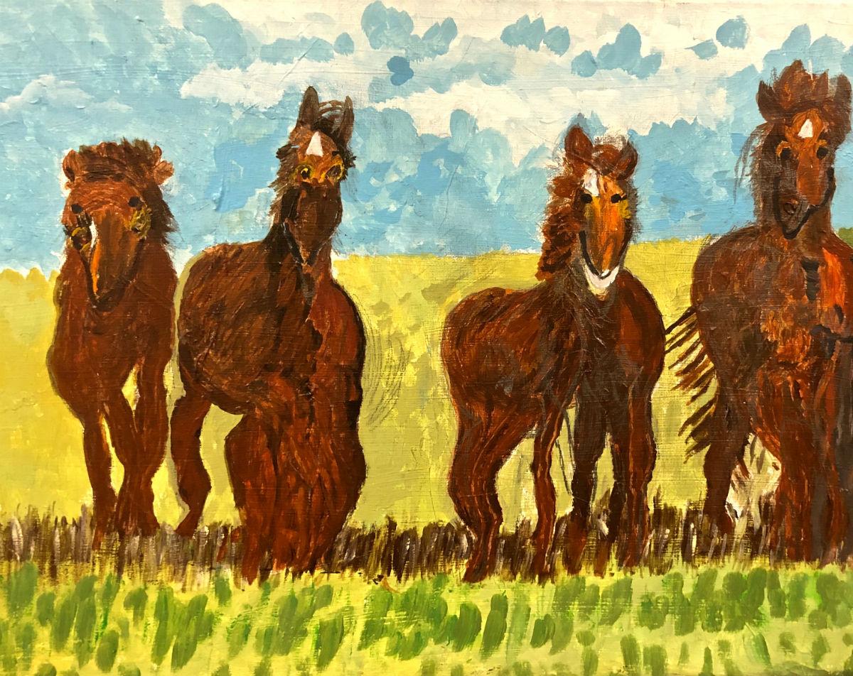"""Geri L. """"Ancient Horses"""" 18 x 24"""